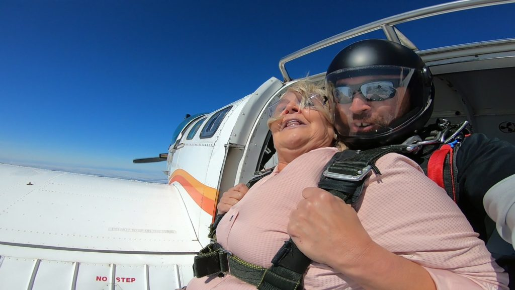 Jackie about to skydive
