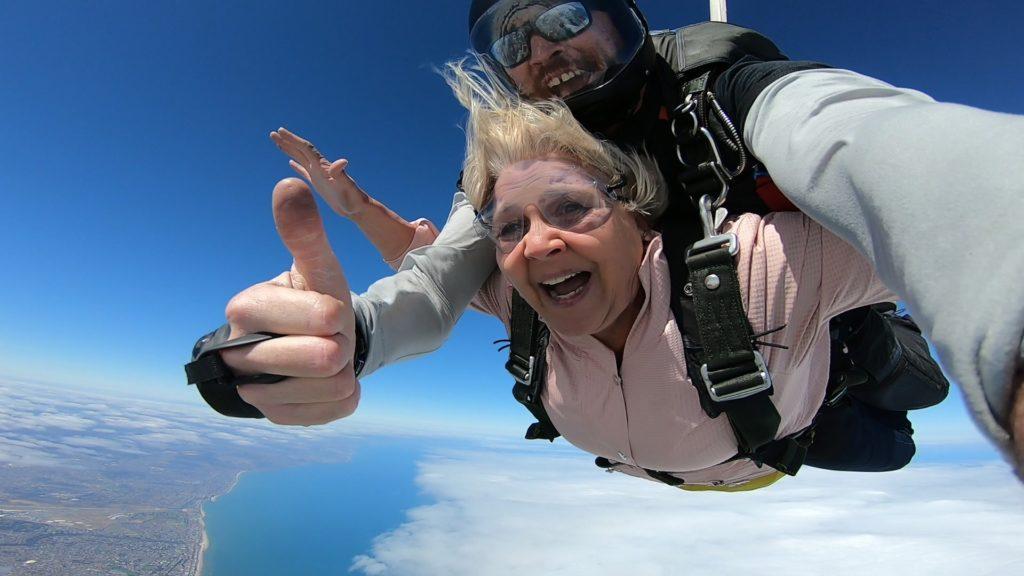 Jackie freefall during tandem skydive