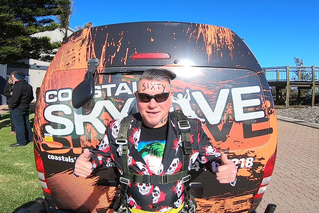 Skydiving on his sixtieth birthday