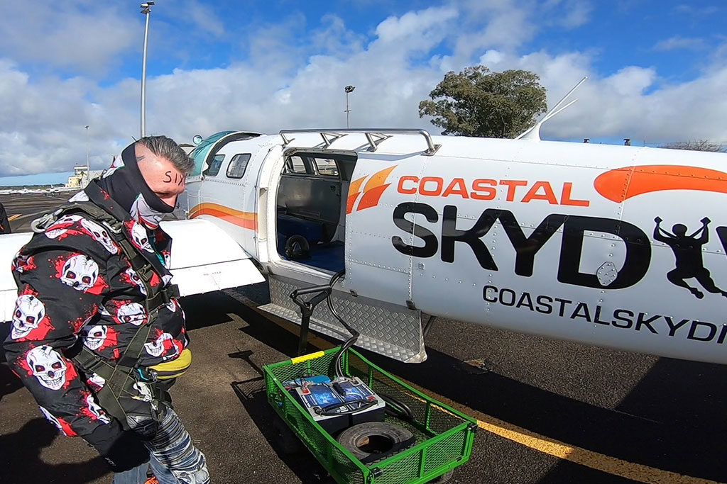 Boarding the plane to go skydiving