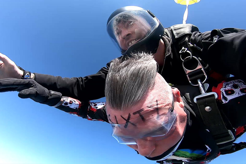 Skydiving on his 60th Birthday